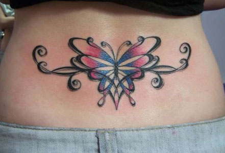 lower back tribal butterfly tattoos. Superior quality lower back temporary