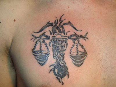 Libra Scales With Tree Or Vine Tattoo